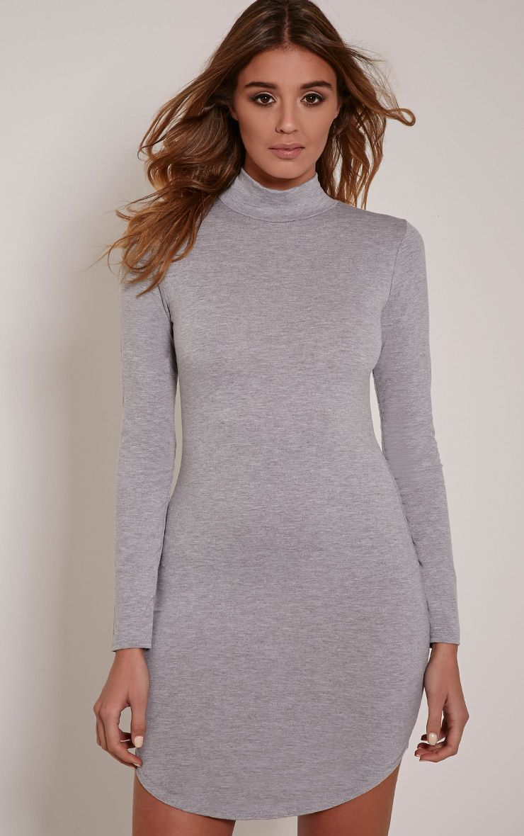 Alby Grey Marl Curve Hem High Neck Dress 1