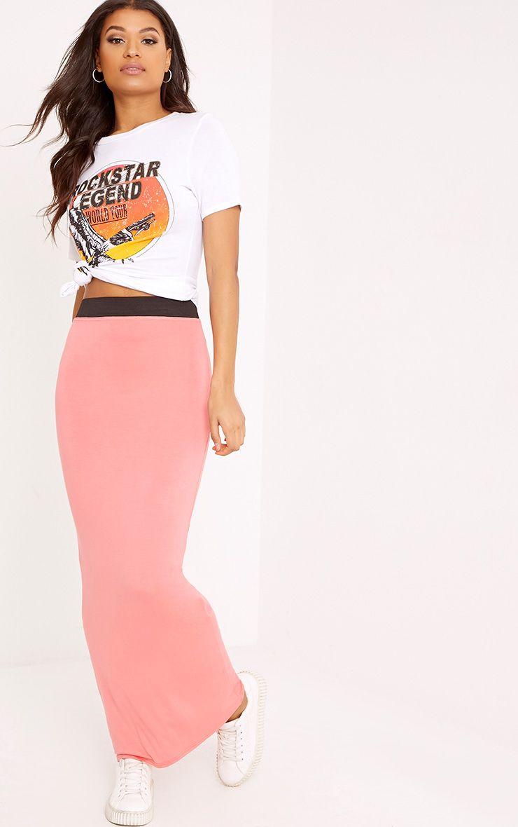 Basic Coral Maxi Skirt