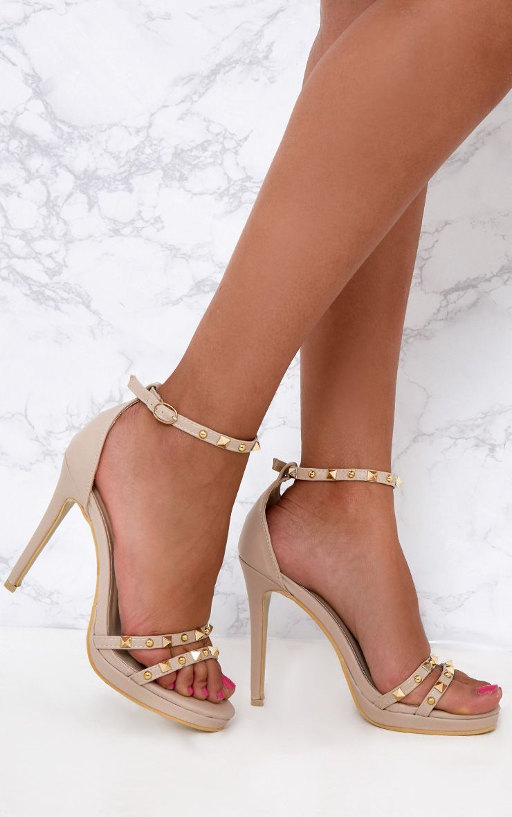Nude Studded Cross Strappy Heeled Sandals