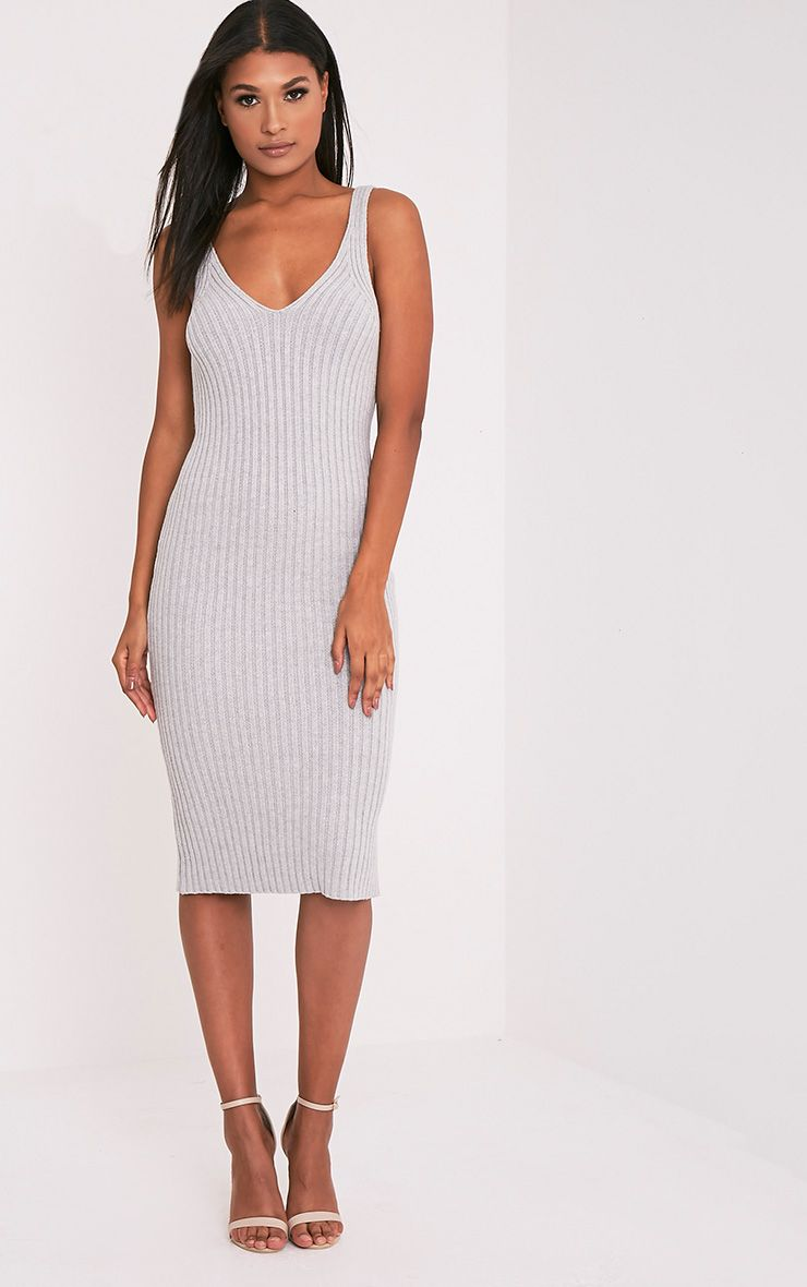 Nimah Grey Ribbed Vest Knitted Midi Dress