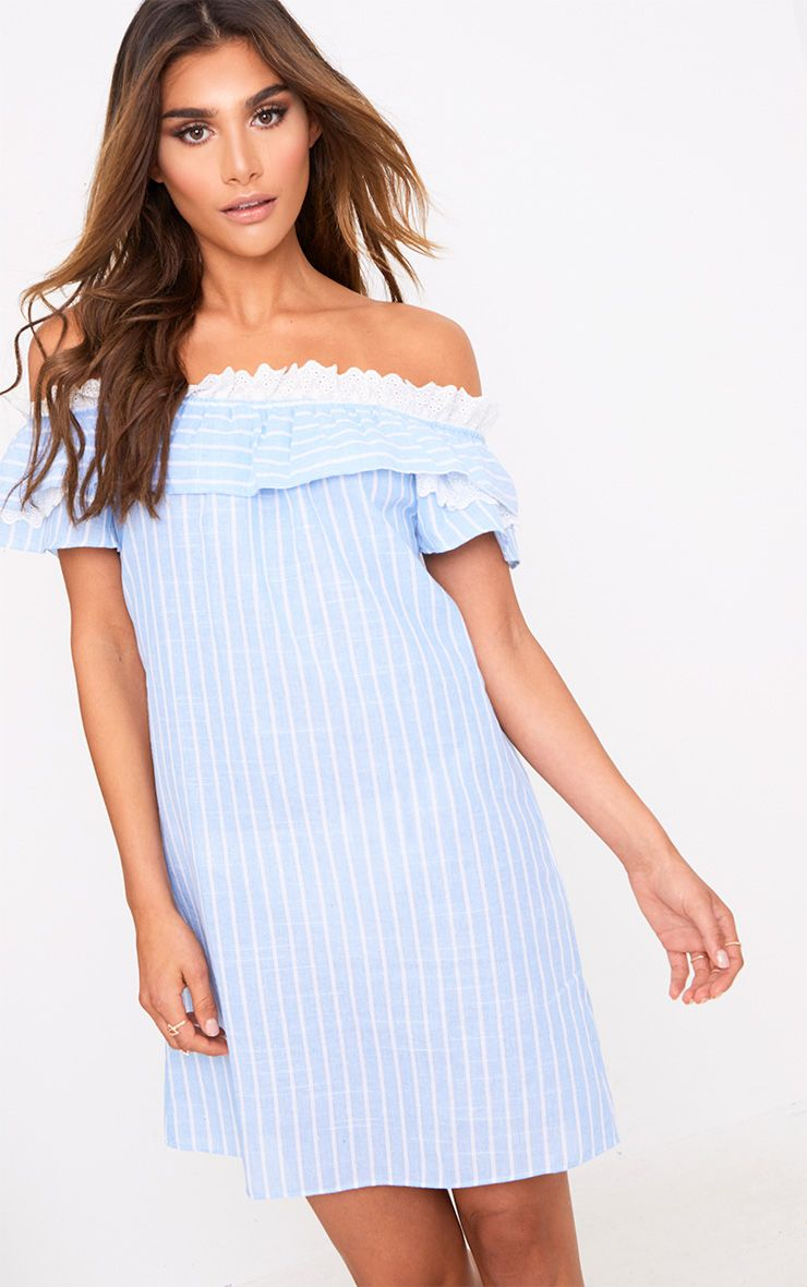 Blue Stripe Broderie Bardot Shift Dress