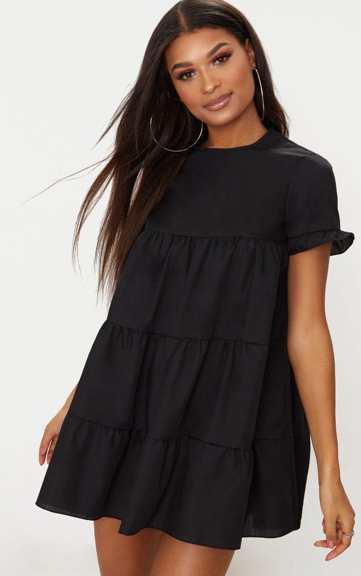 Black Tiered Poplin Smock Dress