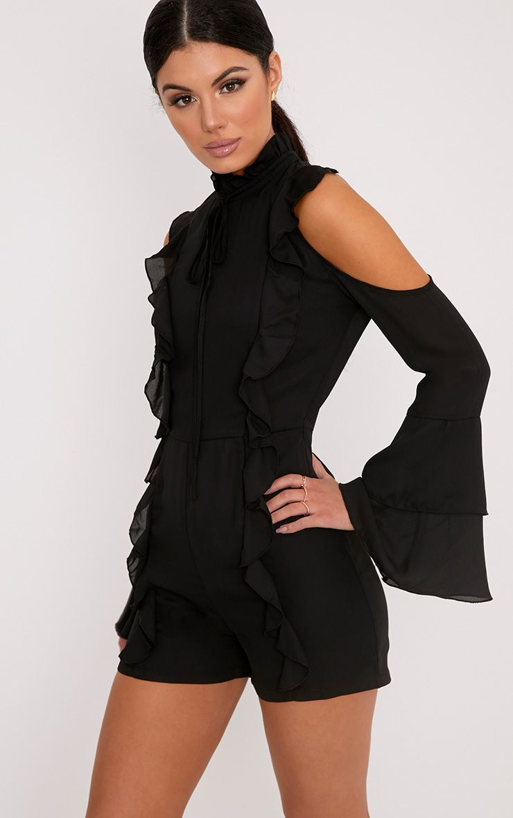Samantha Black Ruffle Tie Neck Playsuit