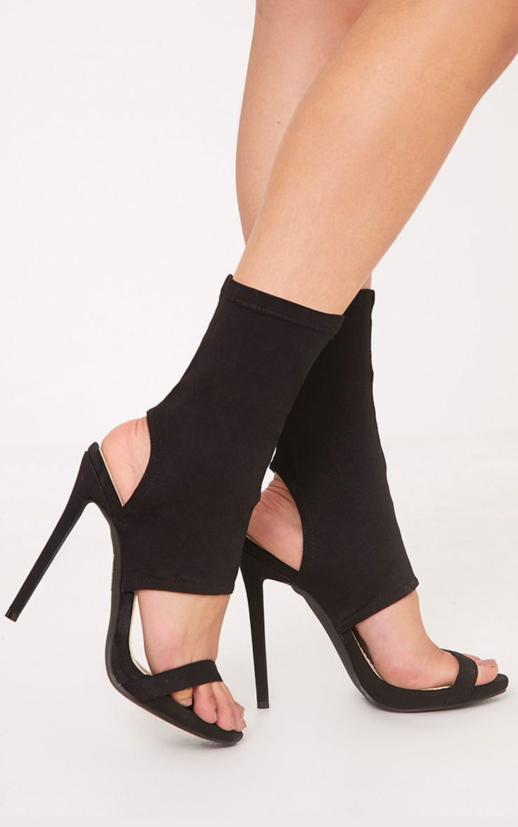 Etta Black Cut Out Sock Heels