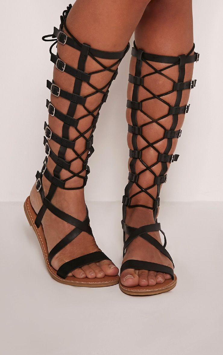 Emmie Black Lace Detail Gladiator Sandals Other Shoes