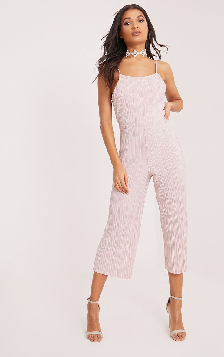 Lissy Pink Pleated Strappy Tie Back Jumpsuit