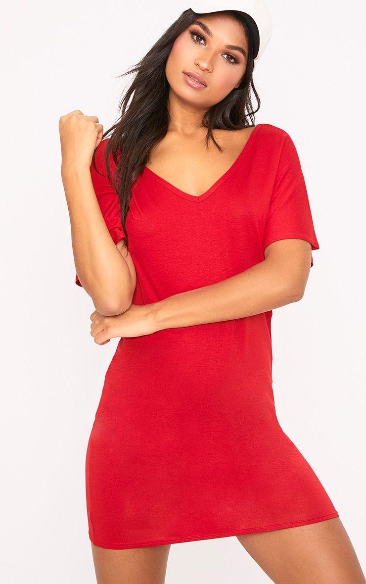 Basic Red V Neck T Shirt Dress