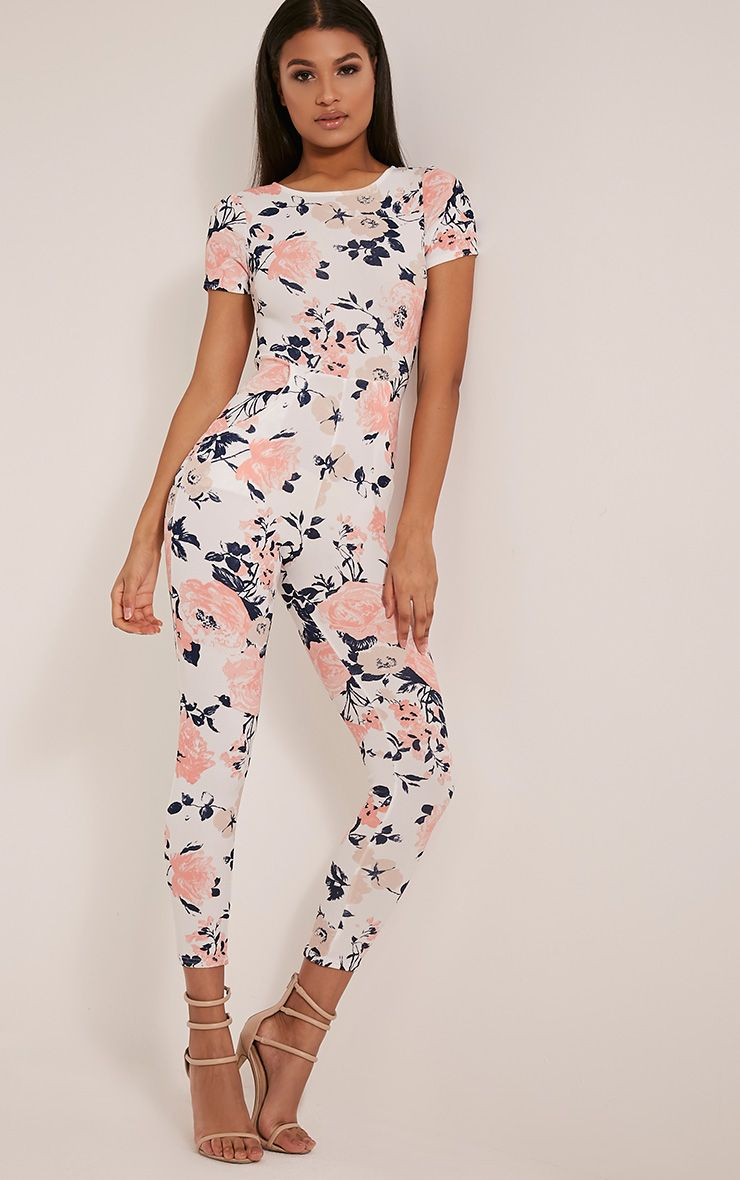 Rachel White Floral Printed Jumpsuit