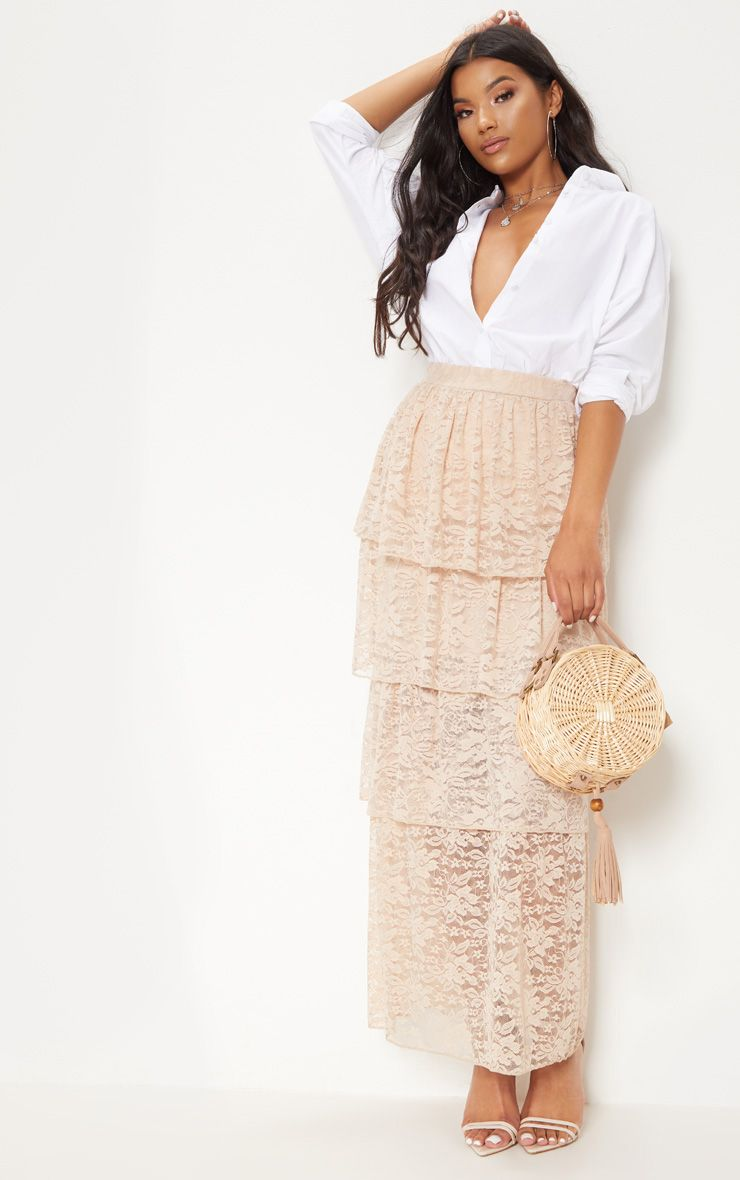 Blush Lace Tiered Maxi Skirt