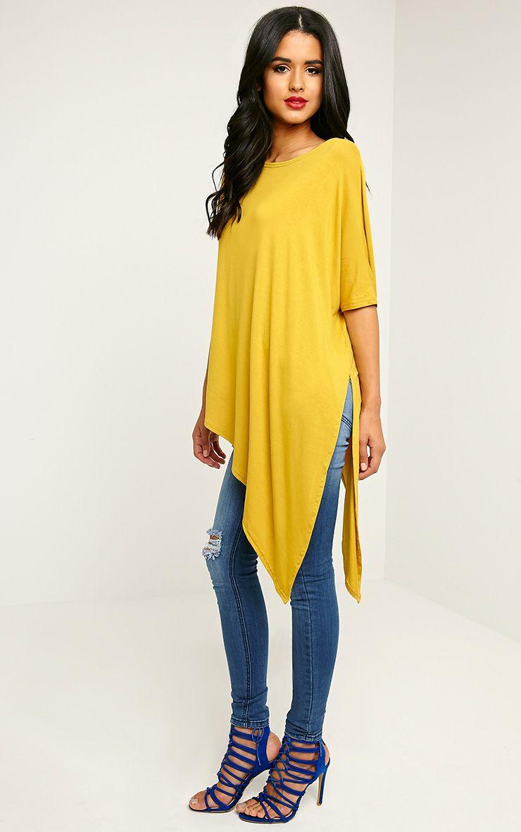 Basic Mustard Asymmetric T-Shirt 1
