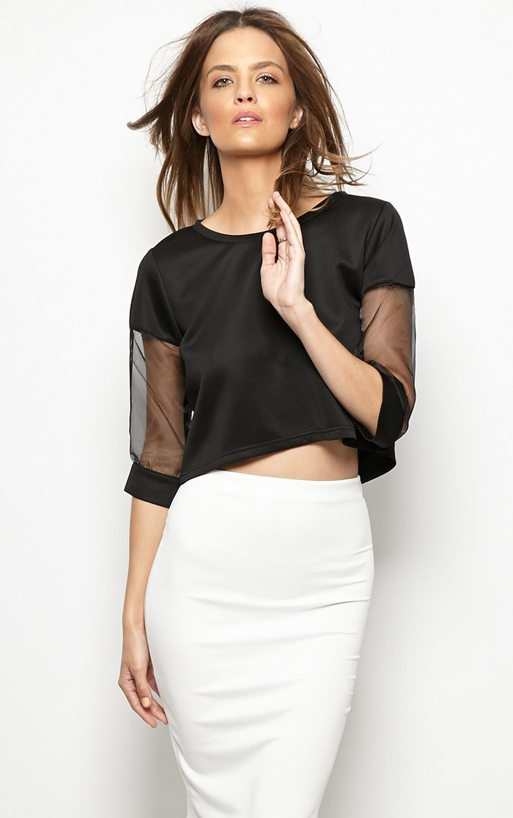 Rory Black Mesh Cropped Sweater  1