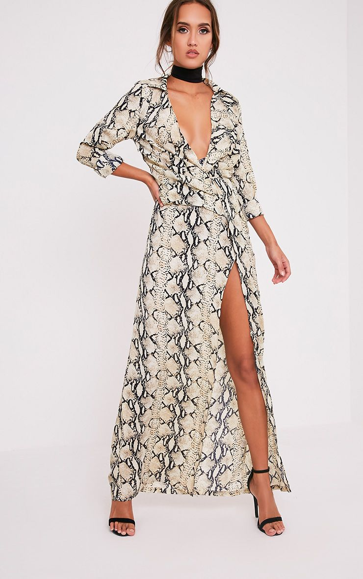 Lucinia Snake Print Twist Maxi Shirt Dress