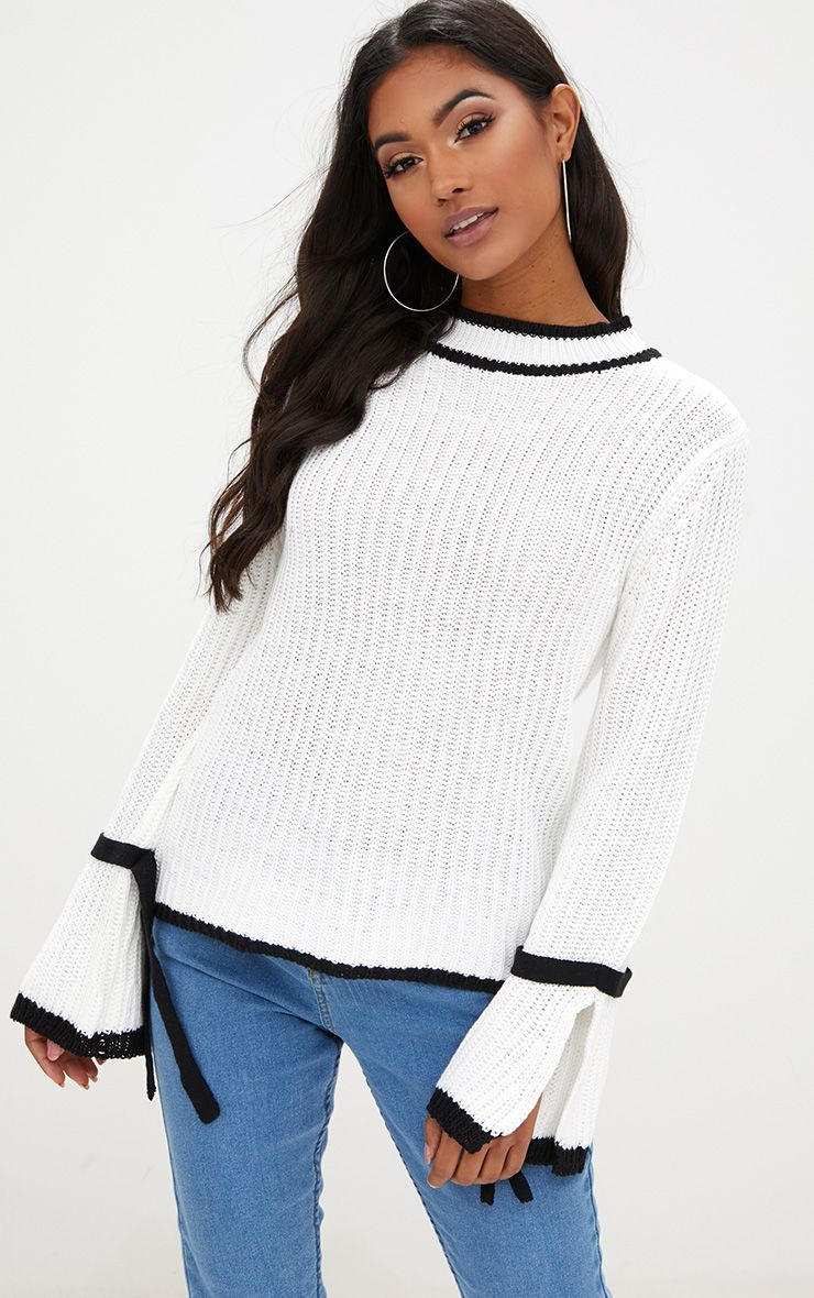 White Flare Sleeve Jumper