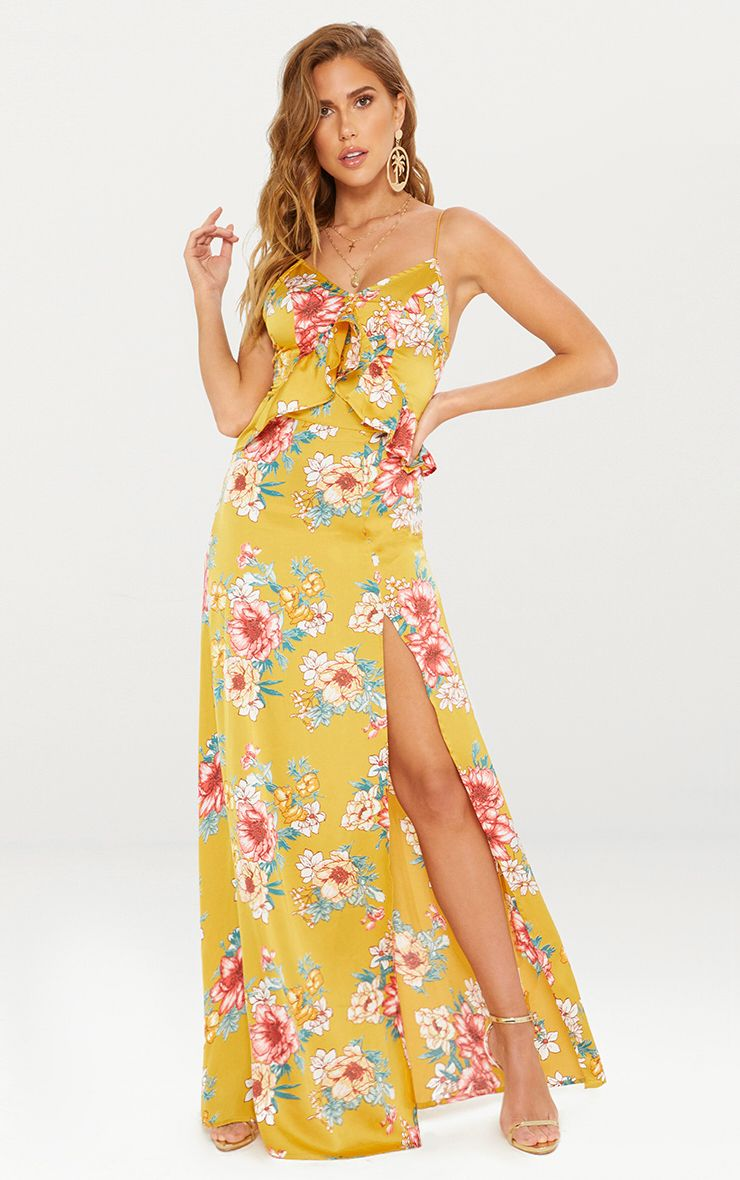 Mustard Floral Frill Detail Extreme Split Plunge Maxi Dress