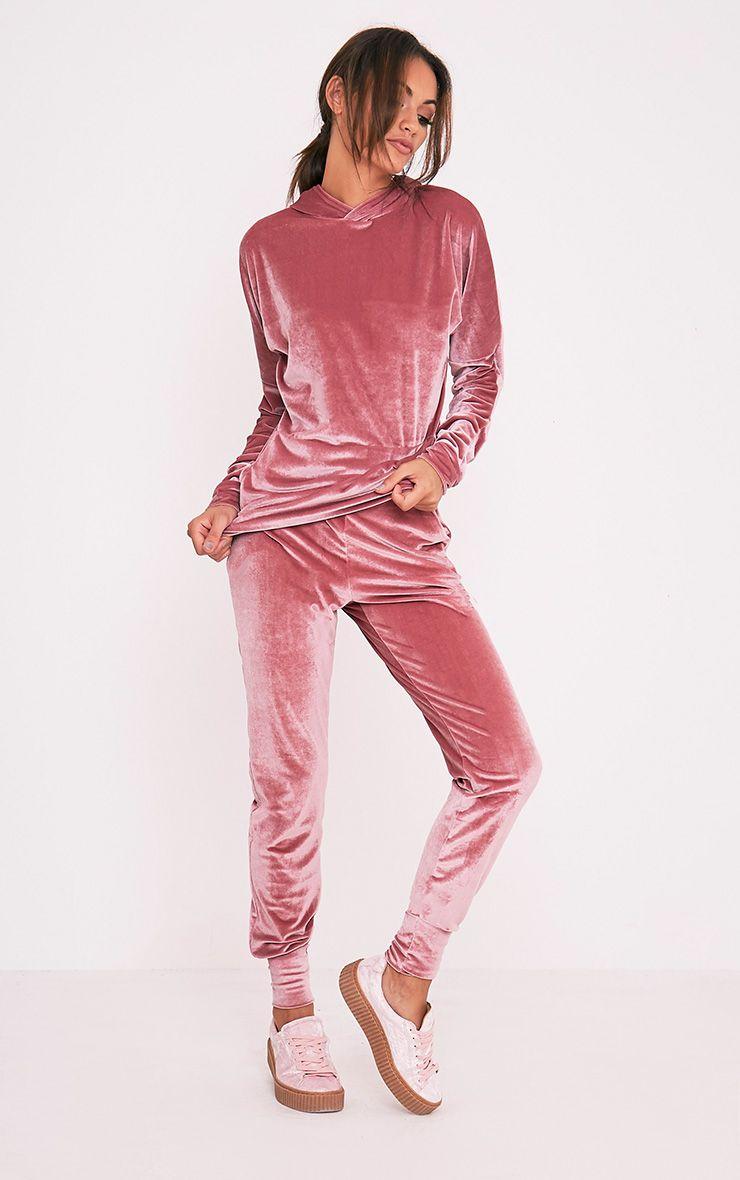 Jannie Dusty Pink Velvet Joggers