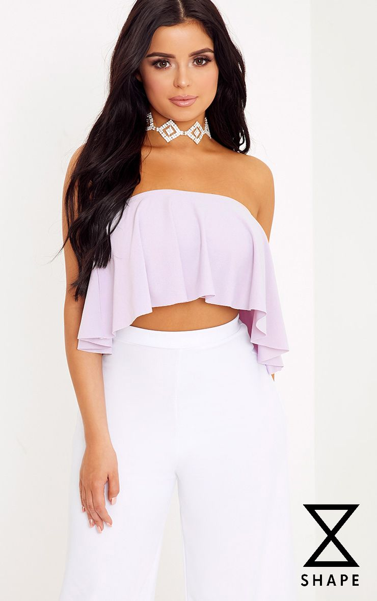 Shape Ria Grey Bandeau Frill Crop Top