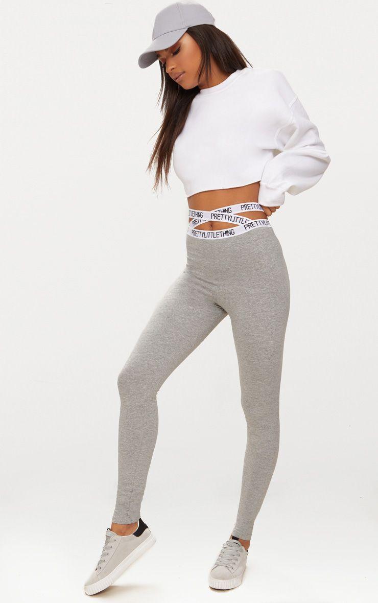 Grey Marl PrettyLittleThing Strappy Waist Leggings