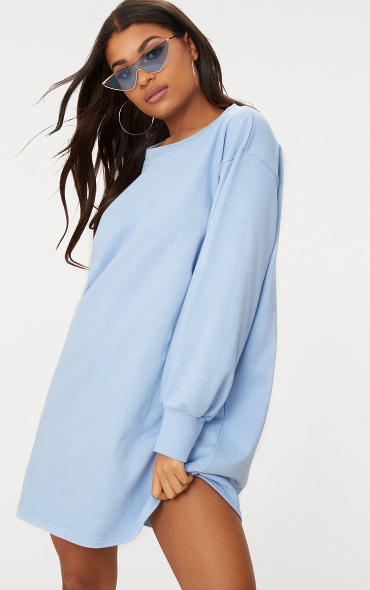 Powder Blue Oversized Sweater Dress 1