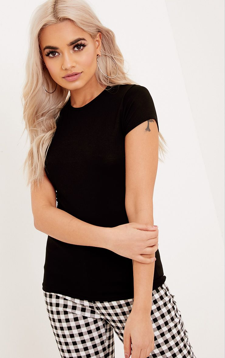 Basic Black Crew Neck Fitted T Shirt