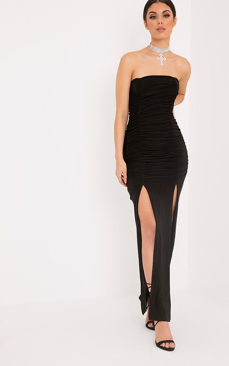 Nia Black Ruched Detail Split Maxi Dress