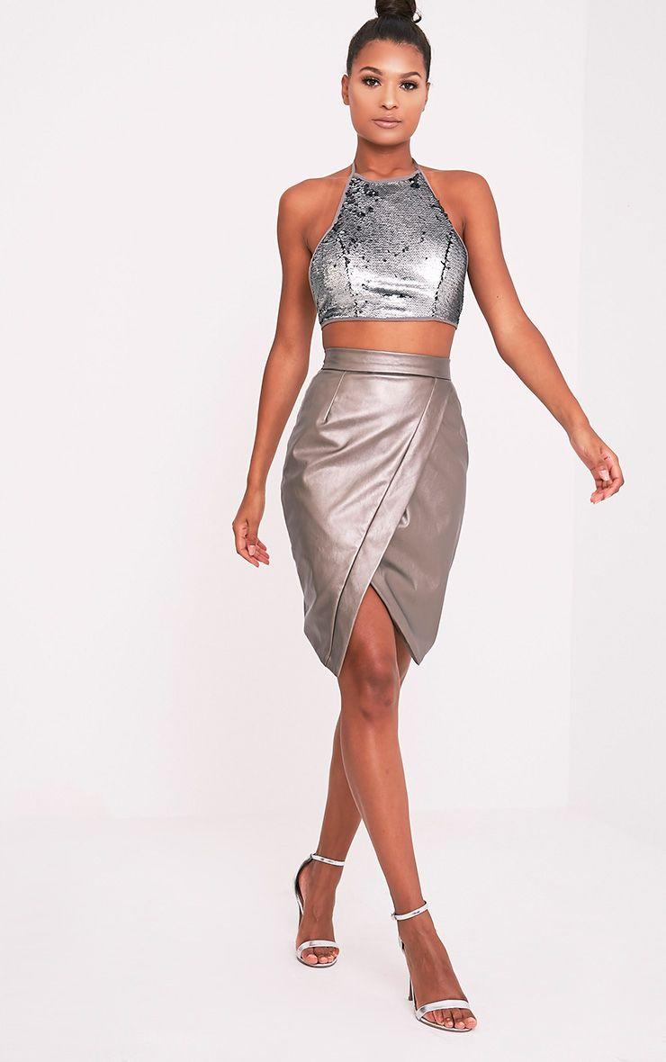 Greer Metallic Pewter Faux Leather Wrap Midi Skirt