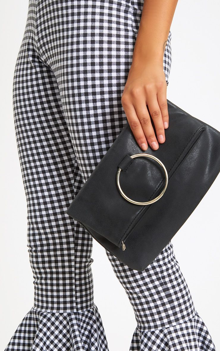 Black Large Ring Clutch Bag