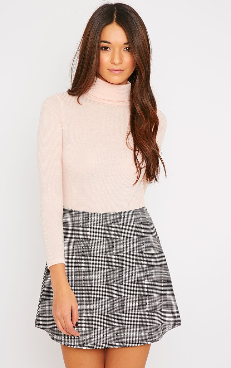 Kezia Nude Ribbed Roll Neck Top  1