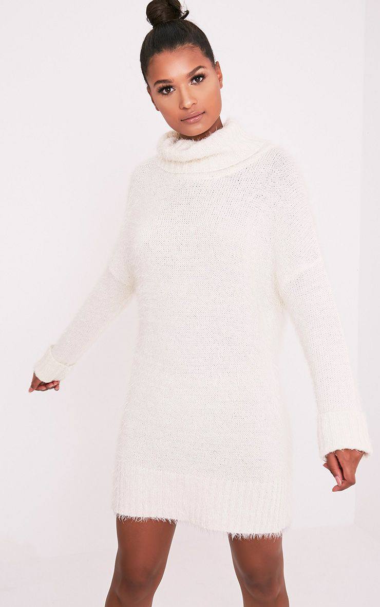 Fontaine Cream Oversized Mohair Knit Jumper Dress