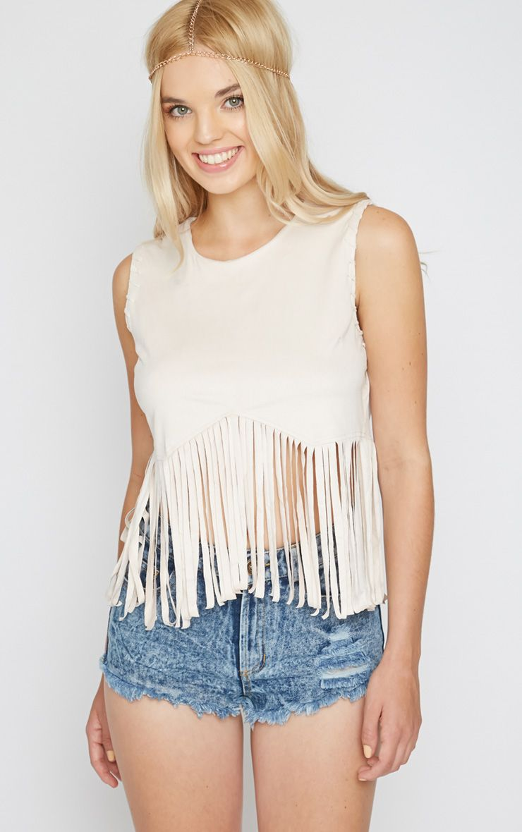 Brielle Cream Suedette Tassel Crop Top  1