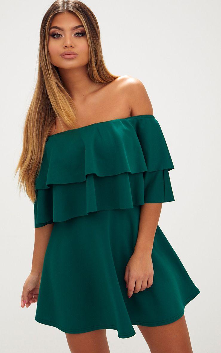 Emerald Green Frill Bardot Skater Dress
