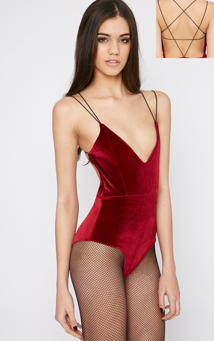 Thorne Burgundy Velvet Star Back Bodysuit  1
