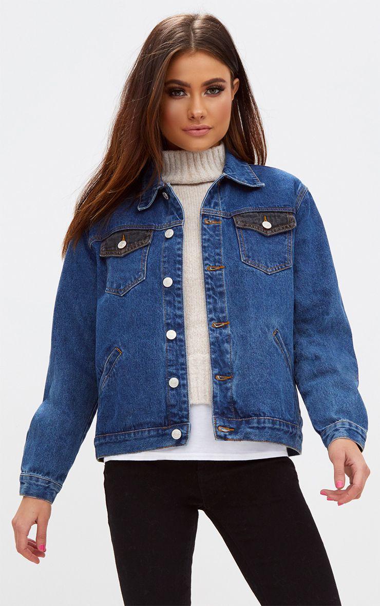 Mid Wash Contrast Pocket Denim Jacket