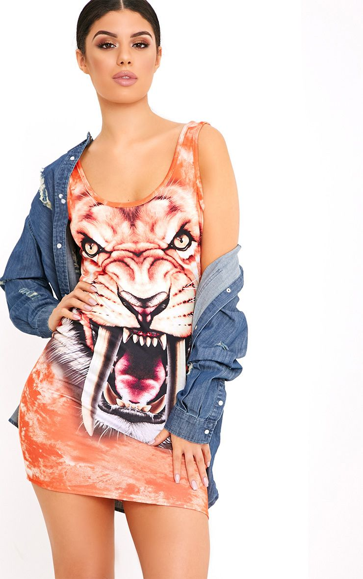 Kalina Orange Tiger Print Scoop Back Bodycon Dress