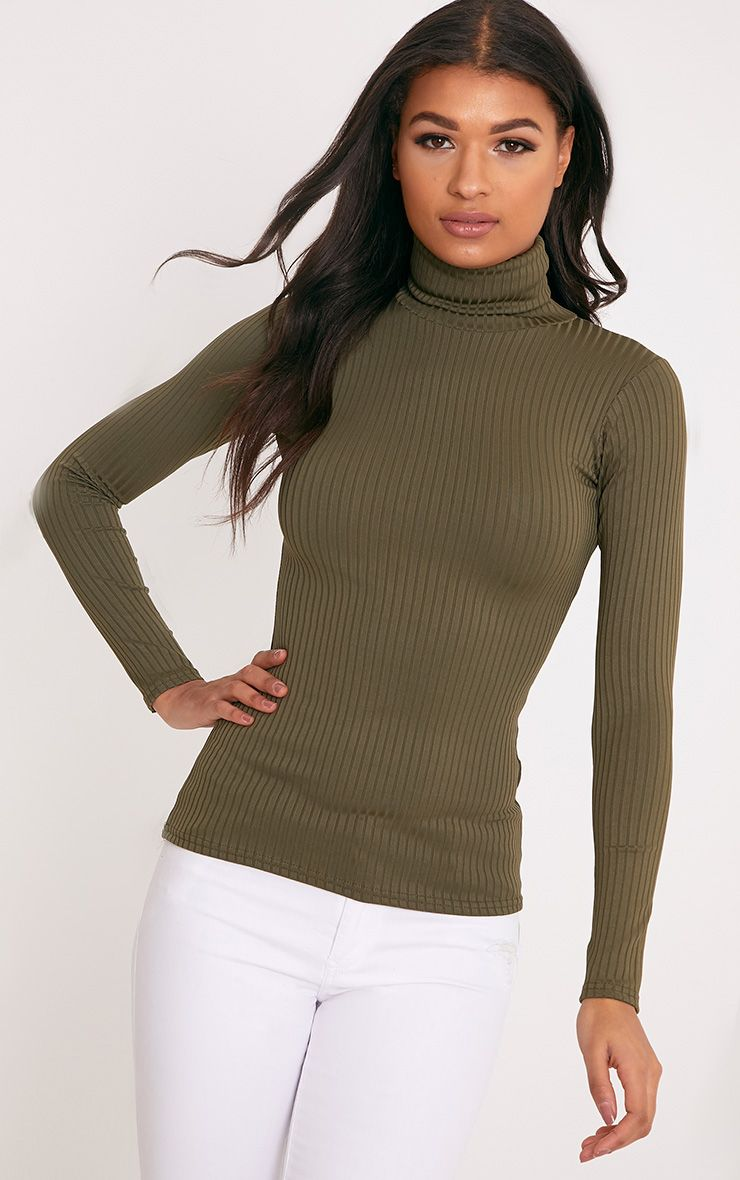 Rheta Khaki Ribbed Polo Neck Top