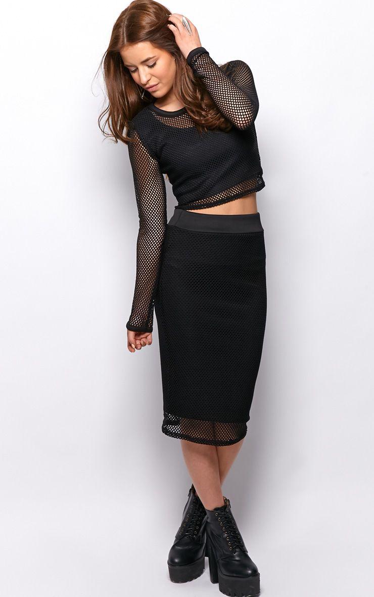 Eleanor Black Fishnet Midi Skirt 1
