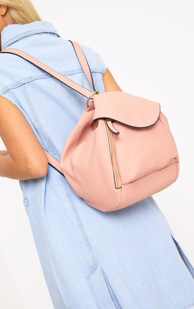 Baby Pink Circle Detail Versatile Backpack