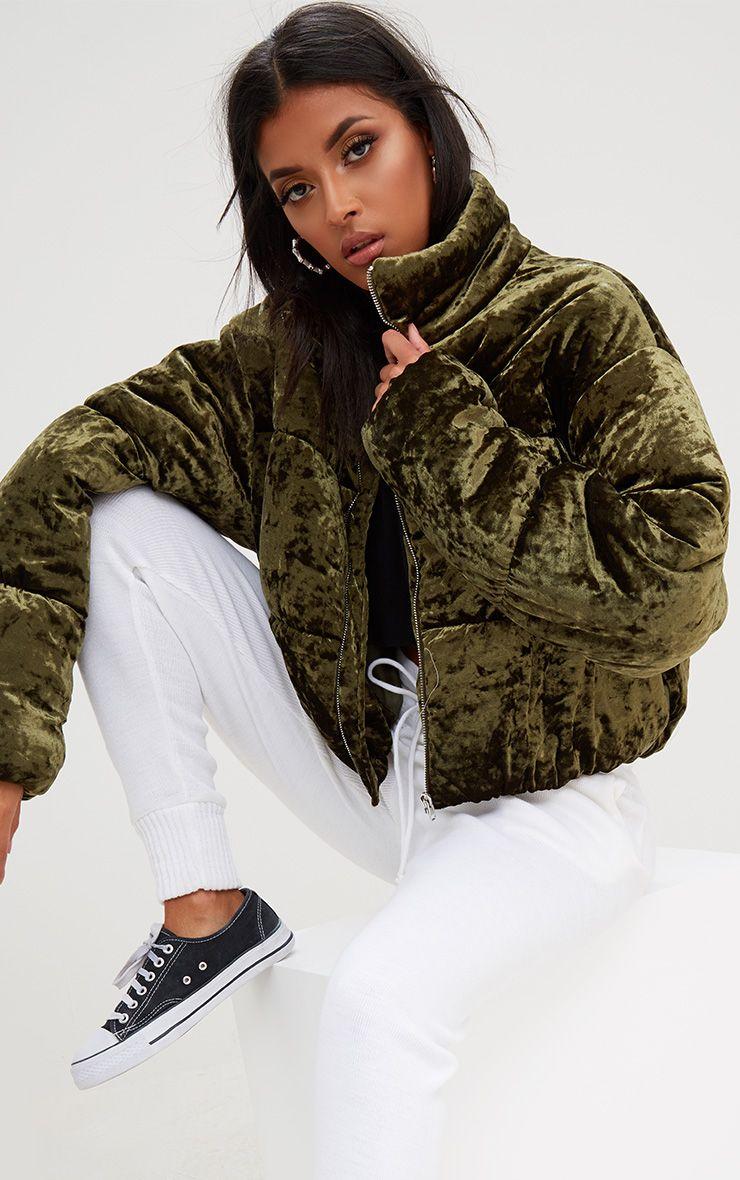 Khaki Velvet Cropped Puffer Coat