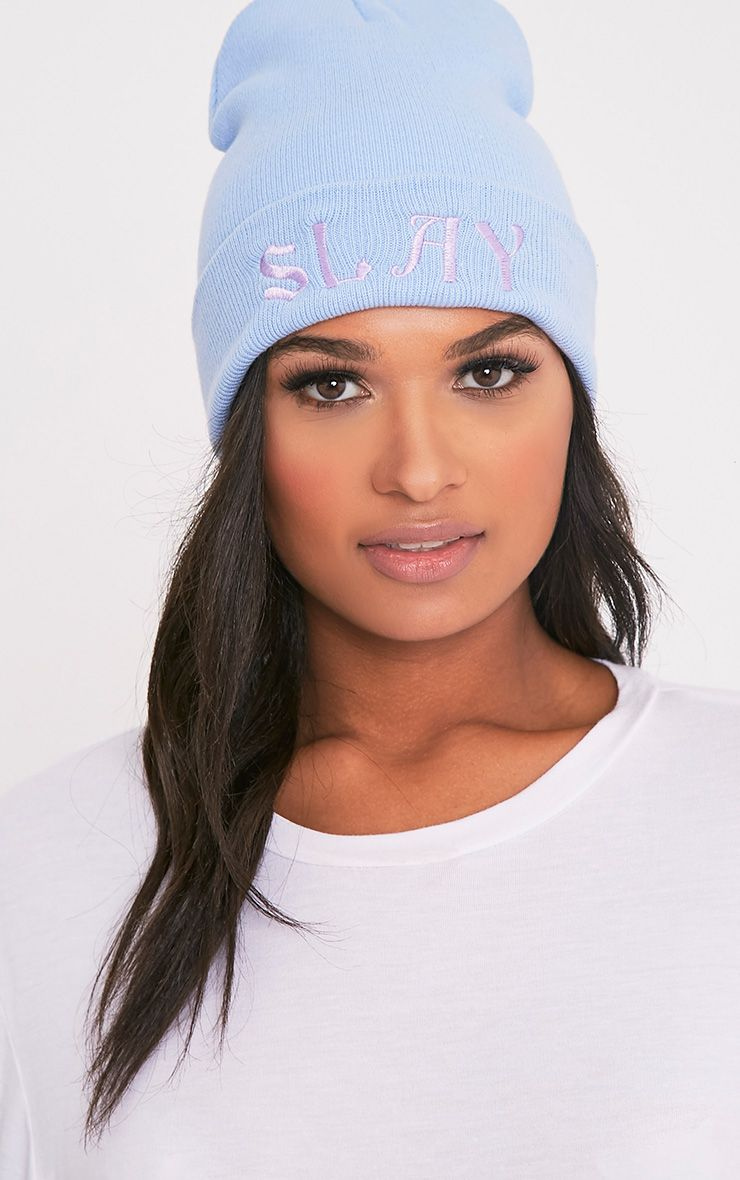 Slay Slogan Baby Blue Beanie Hat