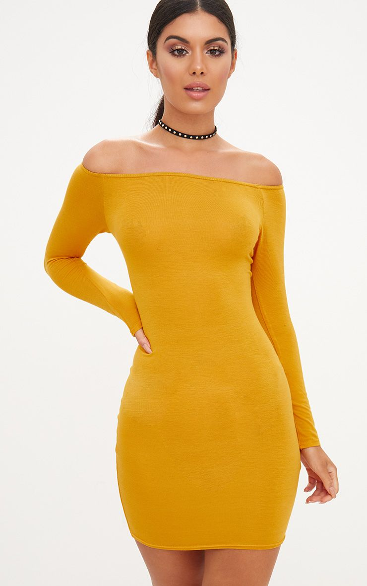 Basic Mustard Bardot Bodycon Dress