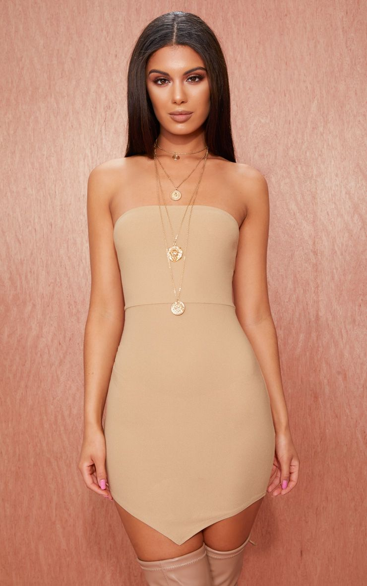 Camel Bandeau Pointy Hem Bodycon Dress