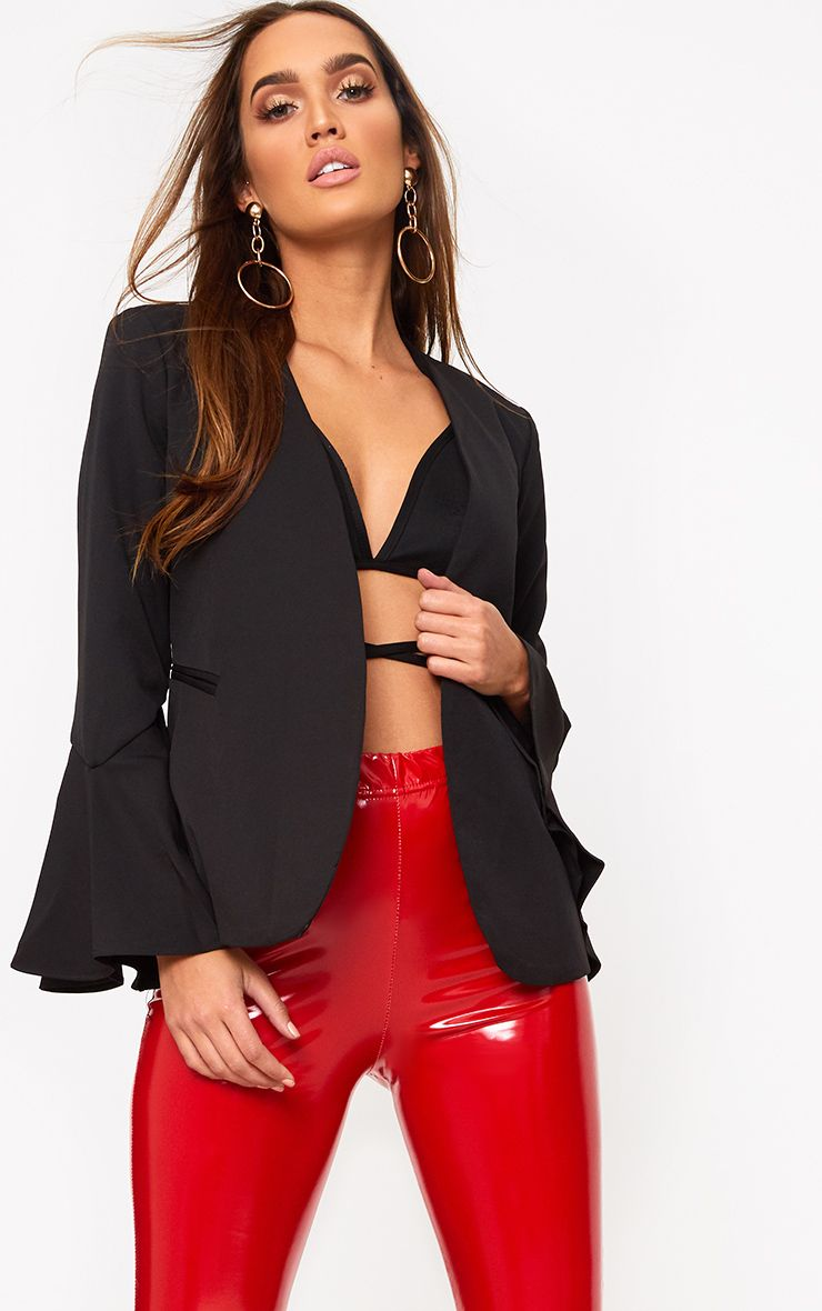Black Flared Sleeve Blazer