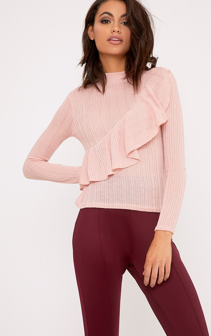 Yuliana Blush Ruffle Detail Knit Jumper