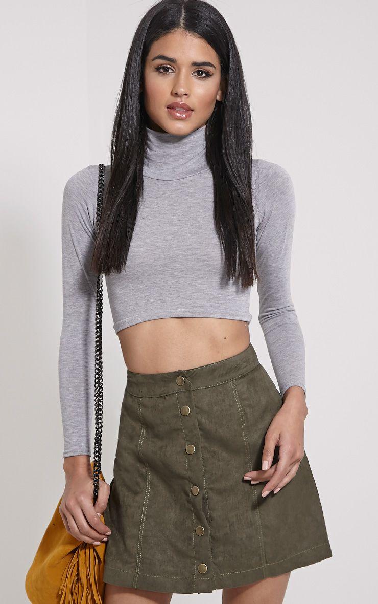 Cheryl Khaki Faux Suede Button Front Skirt 1