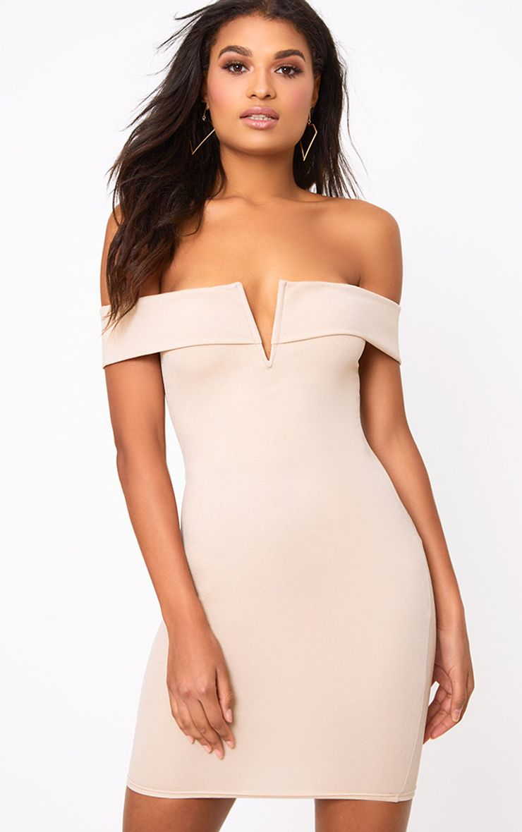 Nude Bardot V Plunge Bodycon Dress