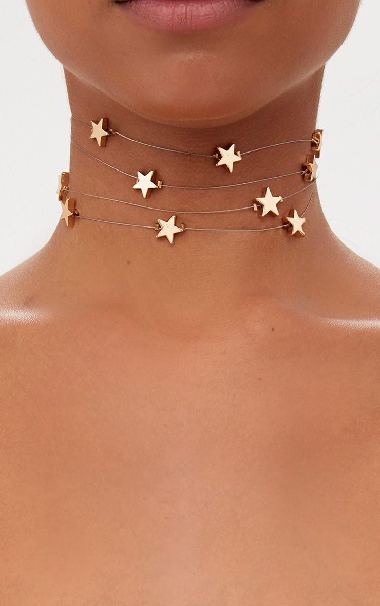 Gold Fine Star Cluster Choker