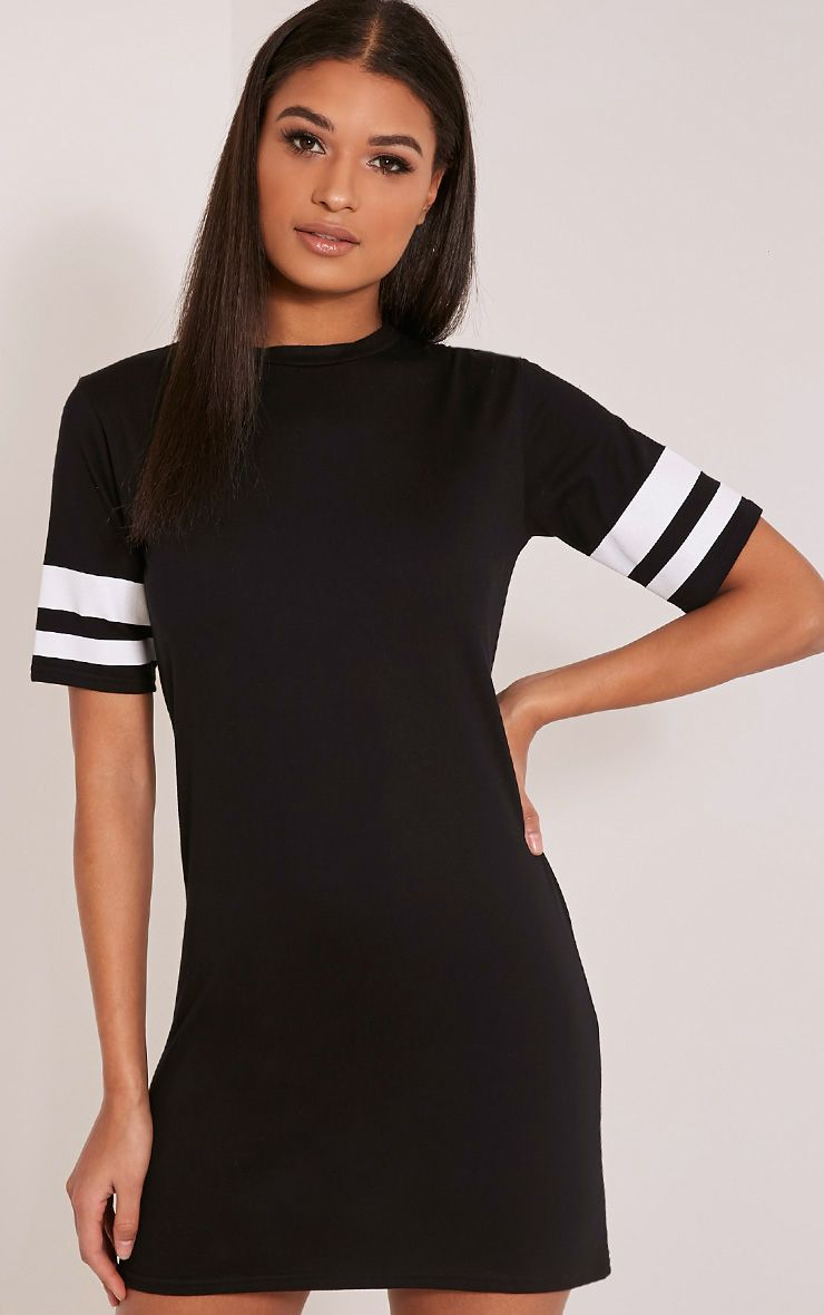 Taylia Black Stripe Sleeve T Shirt Dress 1