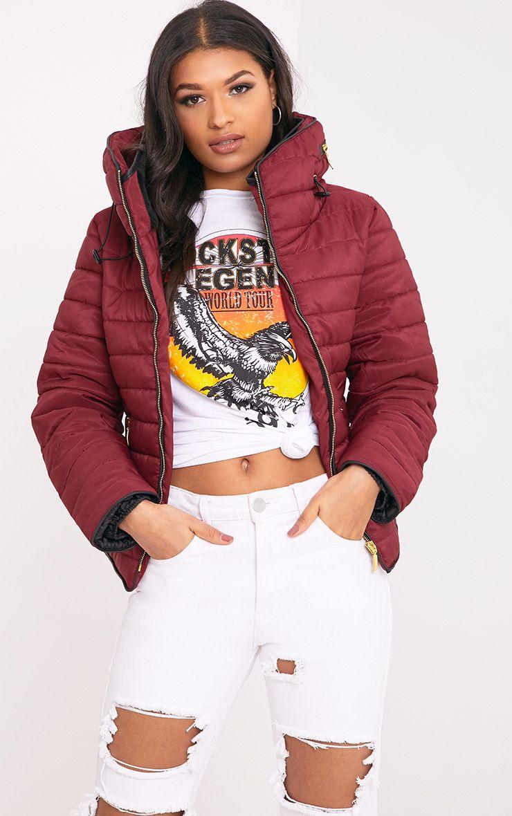 Mara Burgundy Puffer Jacket