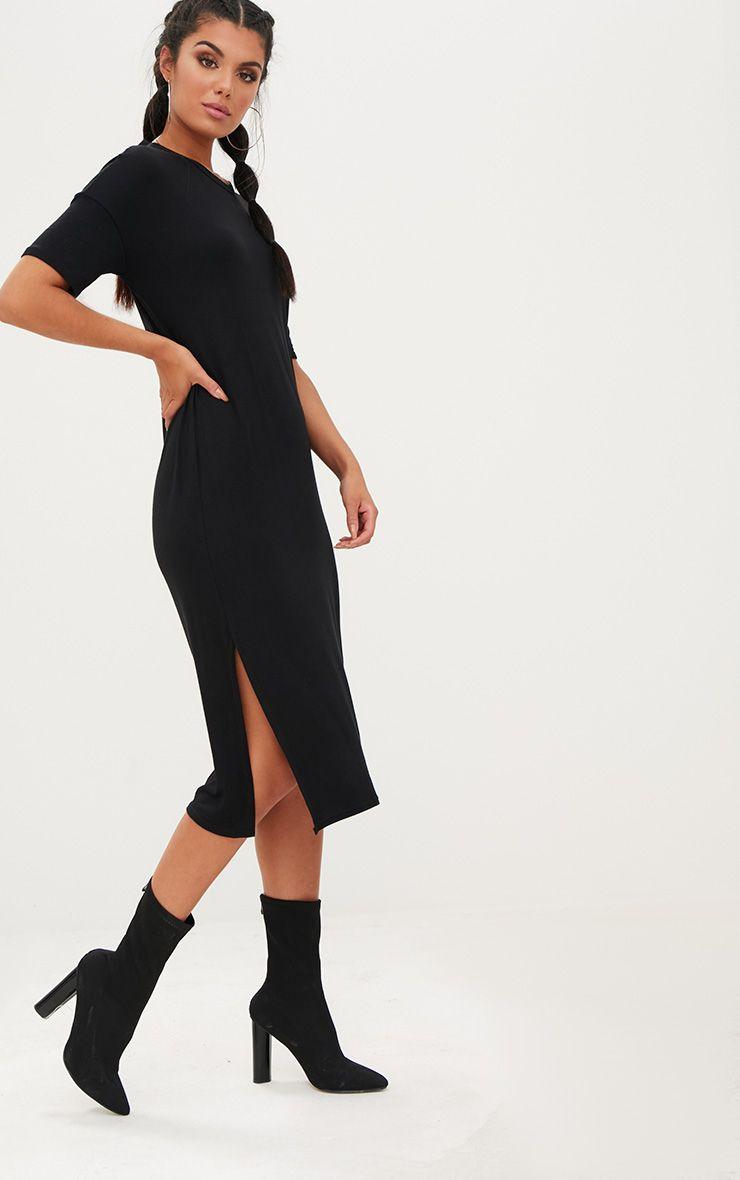 Black Jersey Short Sleeve Midi T Shirt Dress