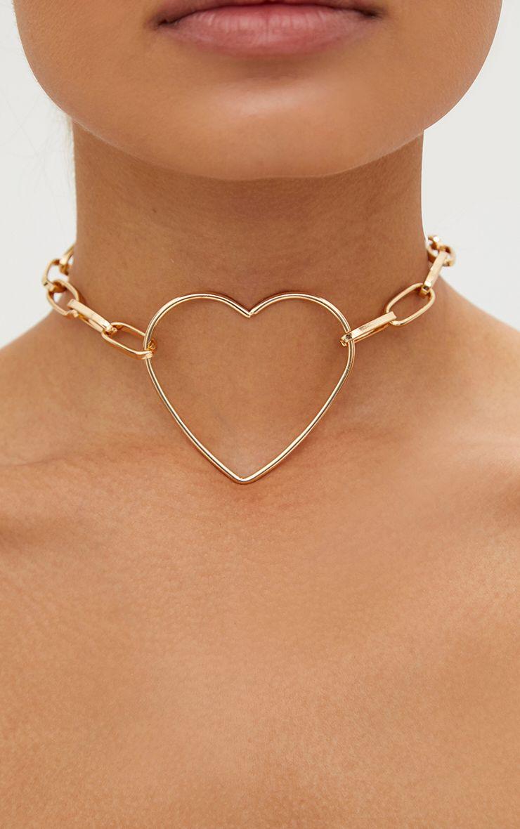 Gold Chain Link Heart Choker 1