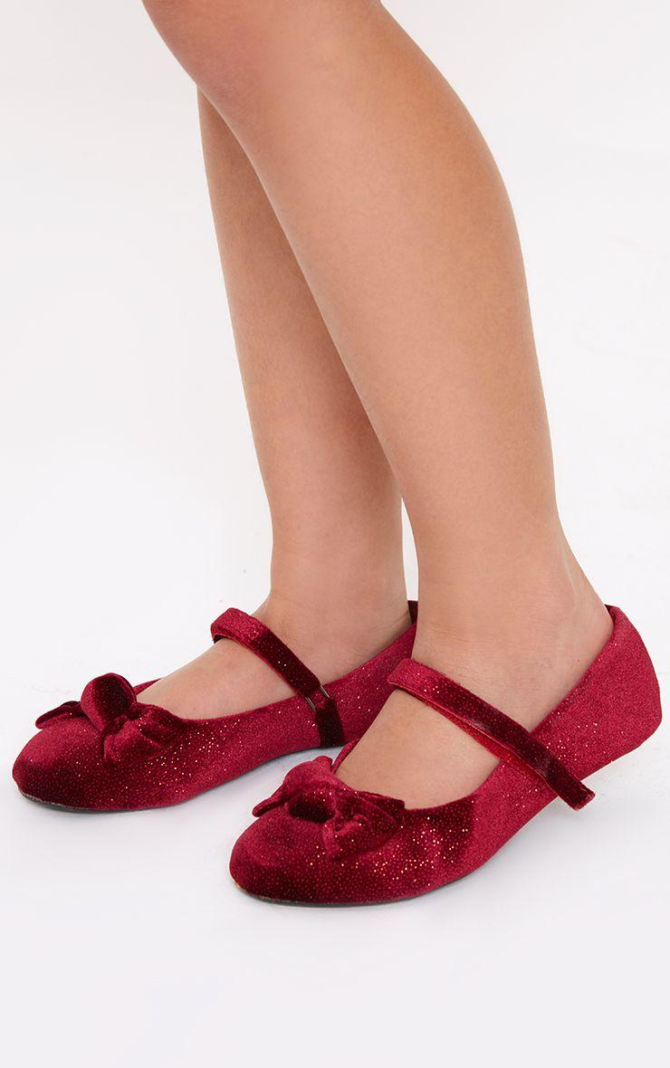 Red Velvet Glitter Ballet Pump